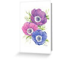 Anemones on White Greeting Card