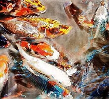 Painterly Koi swarming by Carlos Thomas