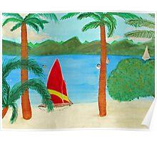 Tropical Beach View of a Virgin Island Poster