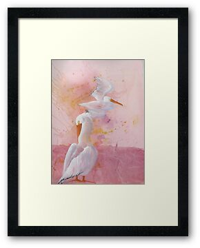 Pelicans in the Pink by Kay Hale