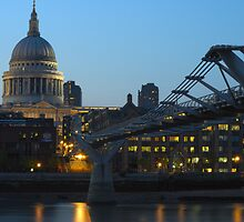 St Paul's Cathedral and the Millennium Bridge  by Oliver Rice