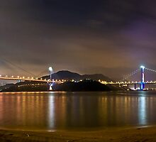 Ting Kau & Tsing Ma Bridge - Night Panoramic by HKart