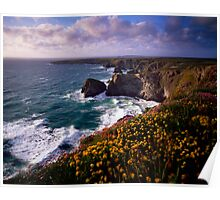Carnewas and Bedruthan Steps, North Cornwall, England Poster