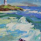 'Sea Swells' - lighthouse and surf  in blue tones by Jean  W. Thomas