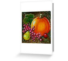 Pumpkin Still life- Wood Carving (Acrylics on wood) Greeting Card