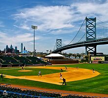 College baseball game at Campbell Field. Camden, New Jersey by Daniel Sorine