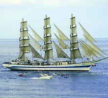 "Tall Ship ""Mir"" off Falmouth, Cornwall,UK by diamondphoto"