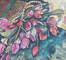Tulips in basket by scallyart