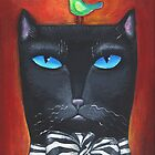 """Bow Cat"" - Original Folk Art Painting  by Lana Wynne"