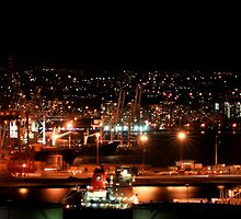 Durban Harbour at night by Lynni2
