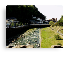 East & West Lyn Rivers Converge in Lynmouth Canvas Print
