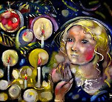 Women with Candles on Christmas Tree by mikejohnson