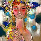 Girl with flowers in hair by mikejohnson