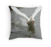 Swan Attack Throw Pillow