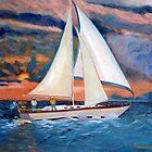 Sunset and Yacht by Kostas Koutsoukanidis