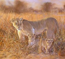 Lioness and  cubs, African Savannah by Santamaria