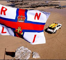 RNLI Flag - Fistral Beach, Newquay. by Jazzdenski