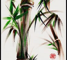 """Motu"" -  acrylic and ink wash painting of bamboo. by Rebecca Rees"