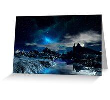 Worlds of the Blue Nebula Greeting Card