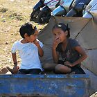 Two children at Anjuna market Goa by Alan Gillam