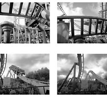 Roller Coaster, Alton Towers - B/W Collage by corder-courtier
