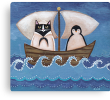Sailor Cat & Penguin Canvas Print