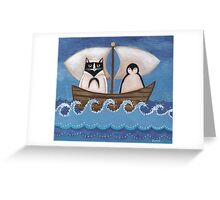 Sailor Cat & Penguin Greeting Card