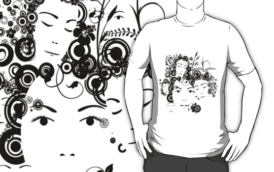 Faces T-shirt by Amalia Iuliana Chitulescu