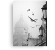 seagulls on eastbourne pier in the mist Canvas Print