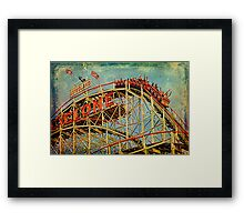 Riding The Famous Cyclone Roller Coaster Framed Print