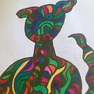 puppy dog abstract art work by briony heath
