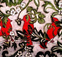 "Three Little Red Birds by Belinda ""BillyLee"" NYE (Printmaker)"
