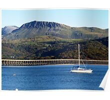 A view of Cader Idris from Barmouth, North Wales Poster