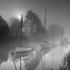 Boats in a misty sunrise - Wareham by Kathy White