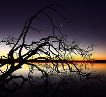Sunset Over Lake Weyba - Sunshine Coast - Queensland - Australia by AMP  Al Melville Photography