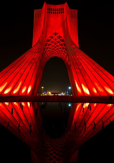 Azadi Tower (Red Reflection) -Tehran - Iran by Bryan Freeman