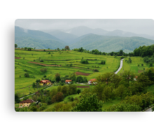 Village on the road, Romania Canvas Print