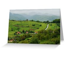 Village on the road, Romania Greeting Card