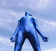 Blue Zentai in the Field 11 by mdkgraphics