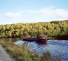 Barge Fingal ~ Caledonian Canal Approaching Fort Augustus by artwhiz47