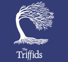Triffids tree and logo in white - tree by Martyn P Casey by W. Minc  Productions