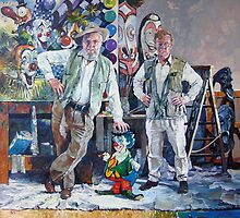 Send in the Clowns - portrait of the artist & his father by Pieter  Zaadstra