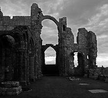 Lindisfarne Priory (B&W) by Ryan Davison Crisp