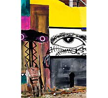 Wheelbarrow propped against wall art, Callejon De Hamel, Havana,  Cuba Photographic Print