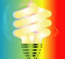 Energy saving light bulb illustration on colorful background  by Funattic