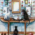 Cats in my Powder Room by Robin Pushe&#x27;e