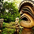 Tiki statues in Maui, Hawaii by calgecko