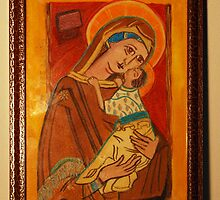 St Charlene & baby Troy, Patron of Family Tax Benefit (Part A) by Margaret Carey