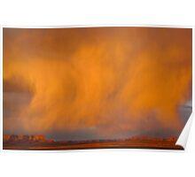 Cloud burst at sunset Poster