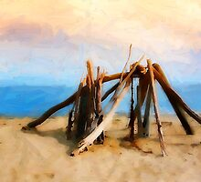 Driftwood Sculpture at Rincon Beach by Ron Regalado